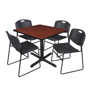 42-inch Square Table and 4 Zeng Stackable Black Chairs