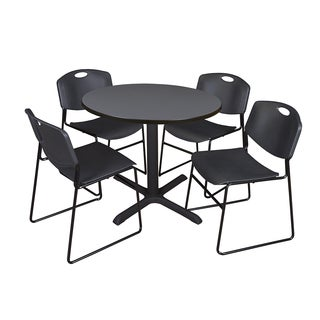 Round 42-inch Table and 4 Zeng Stackable Black Chairs