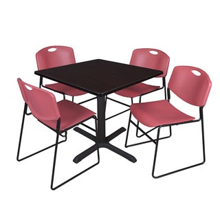 42-inch Square Table and 4 Zeng Stackable Burgundy Chairs