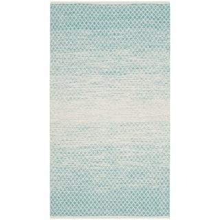 Safavieh Hand-Woven Montauk Flatweave Turquoise / Ivory Cotton Rug (3' x 5')