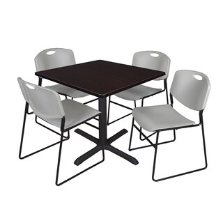 42-inch Square Table and 4 Zeng Stackable Grey Chairs