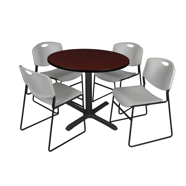 Round 42-inch Table and 4 Zeng Stackable Grey Chairs