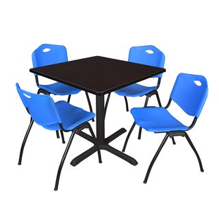 42-inch Square Table and 4 'M' Stackable Blue Chairs