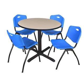 Round 42-inch Table and 4 'M' Stackable Blue Chairs