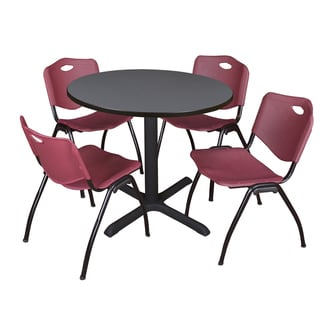 42-inch Round Table and 4 'M' Stackable Burgundy Chairs
