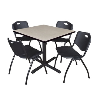 Square 42-inch Table and 4 'M' Stackable Black Chairs