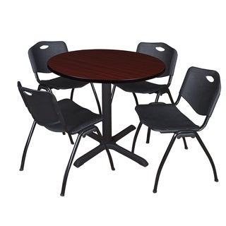 Round 42-inch Table and 4 'M' Stackable Black Chairs