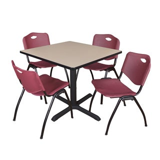 42-inch Square Table and 4 'M' Stackable Burgundy Chairs