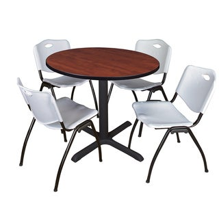 Round 42-inch Table and 4 'M' Stackable Grey Chairs