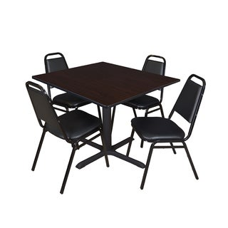 Cain 48-inch Square Breakroom Table with 4 Restaurant Stack Chairs