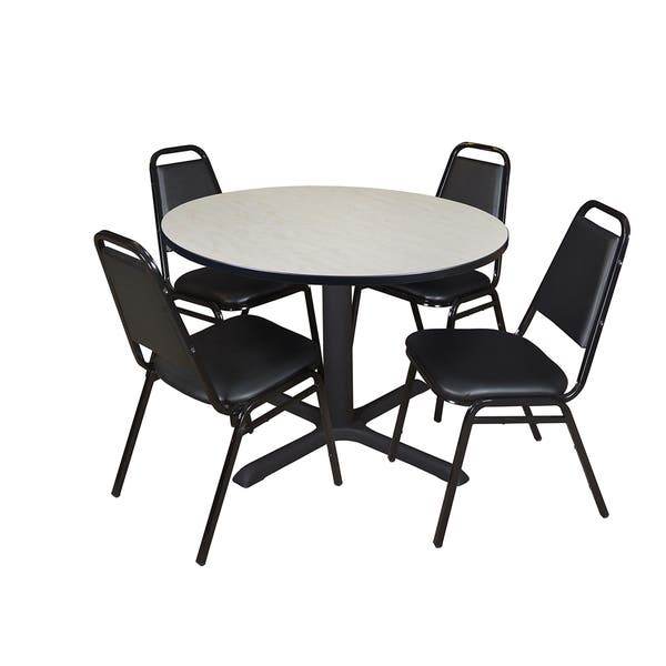 Cain 48 Inch Round Breakroom Table With 4 Restaurant Stack Chairs Overstock 12671314