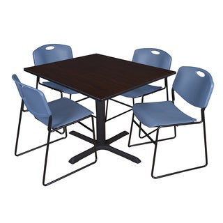 48-inch Square Table and 4 Zeng Stackable Blue Chairs