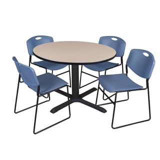 48-inch Round Table and 4 Zeng Stackable Blue Chairs