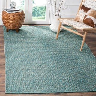 Safavieh Hand-Woven Montauk Flatweave Turquoise / Multicolored Cotton Rug (3' x 5')