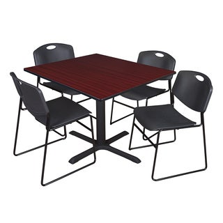 48-inch Square Table and 4 Zeng Stackable Black Chairs