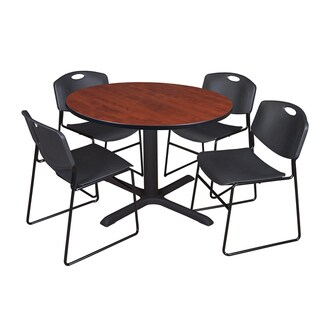 Round 48-inch Table and 4 Zeng Stackable Black Chairs