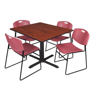 48-inch Square Table and 4 Zeng Stackable Burgundy Chairs