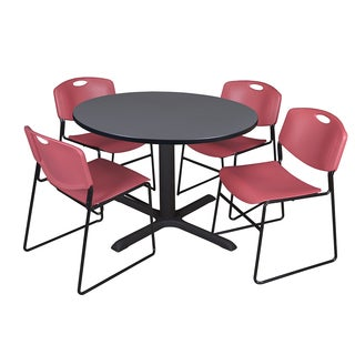 48-inch Round Table and 4 Zeng Stackable Burgundy Chairs