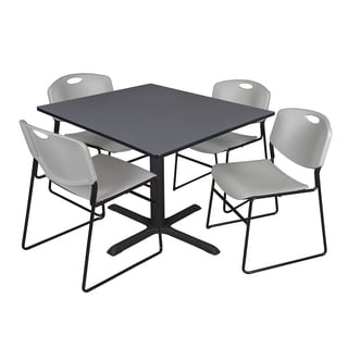 Cain 48-inch Square Breakroom Table with 4 Grey Zeng Stack Chairs