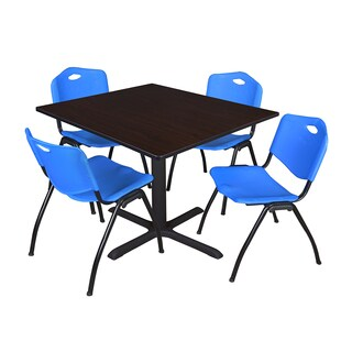 48-inch Square Table and 4 'M' Stackable Blue Chairs