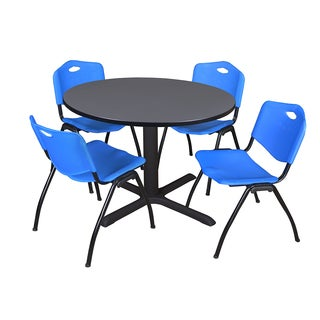 Round 48-inch Table and 4 'M' Stackable Blue Chairs