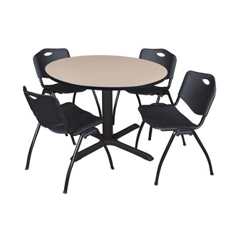 48-inch Round Table and 4 'M' Stackable Black Chairs