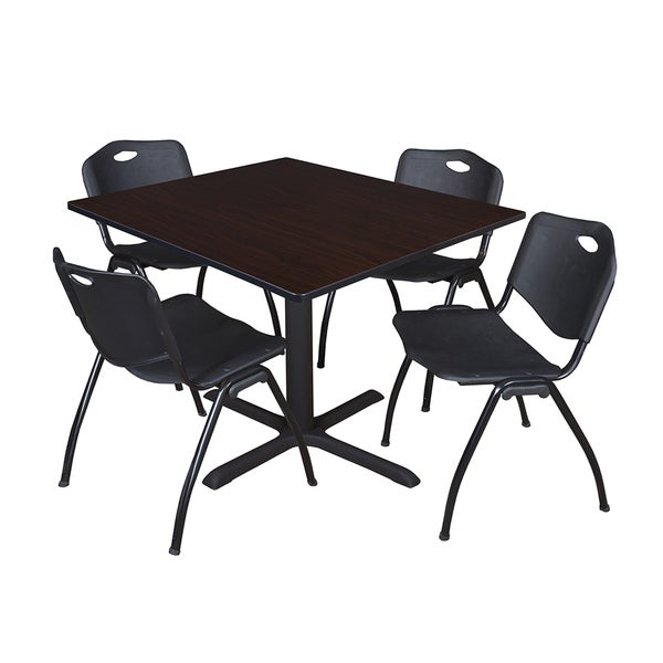 48-inch Square Table and 4 'M' Stackable Black Chairs