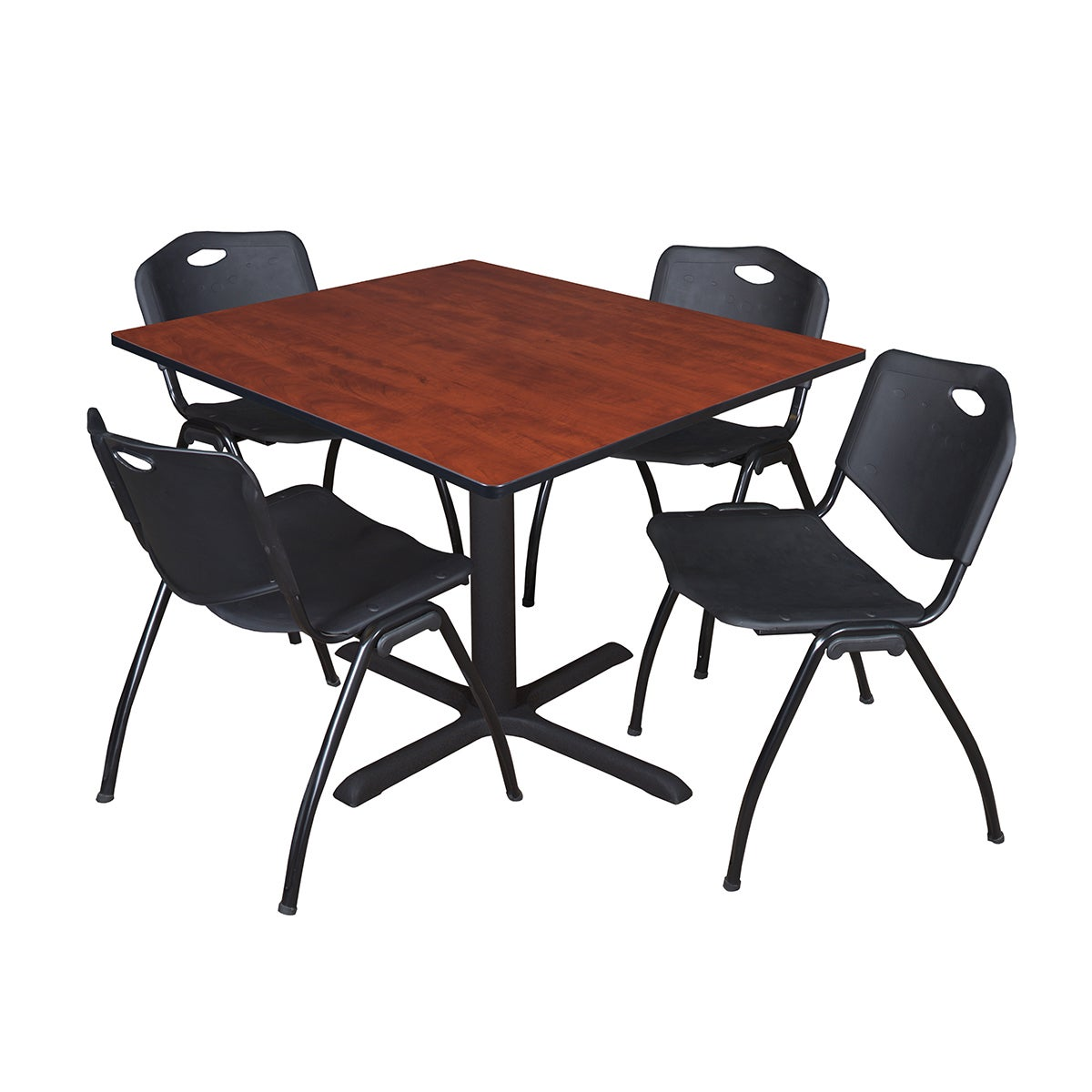 Details About 48 Inch Square Table And 4 M Stackable Black Chairs