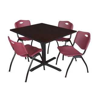 48-inch Square Table and 4 'M' Stackable Burgundy Chairs