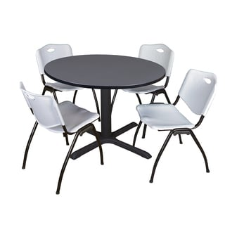 48-inch Round Table and 4 'M' Stackable Grey Chairs