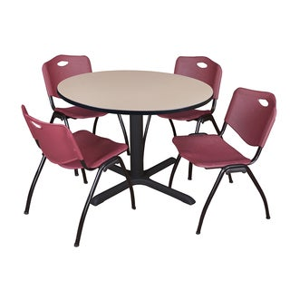 48-inch Round Table and 4 'M' Stackable Burgundy Chairs
