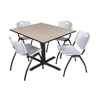 Square 48-inch Table and 4 'M' Stackable Grey Chairs