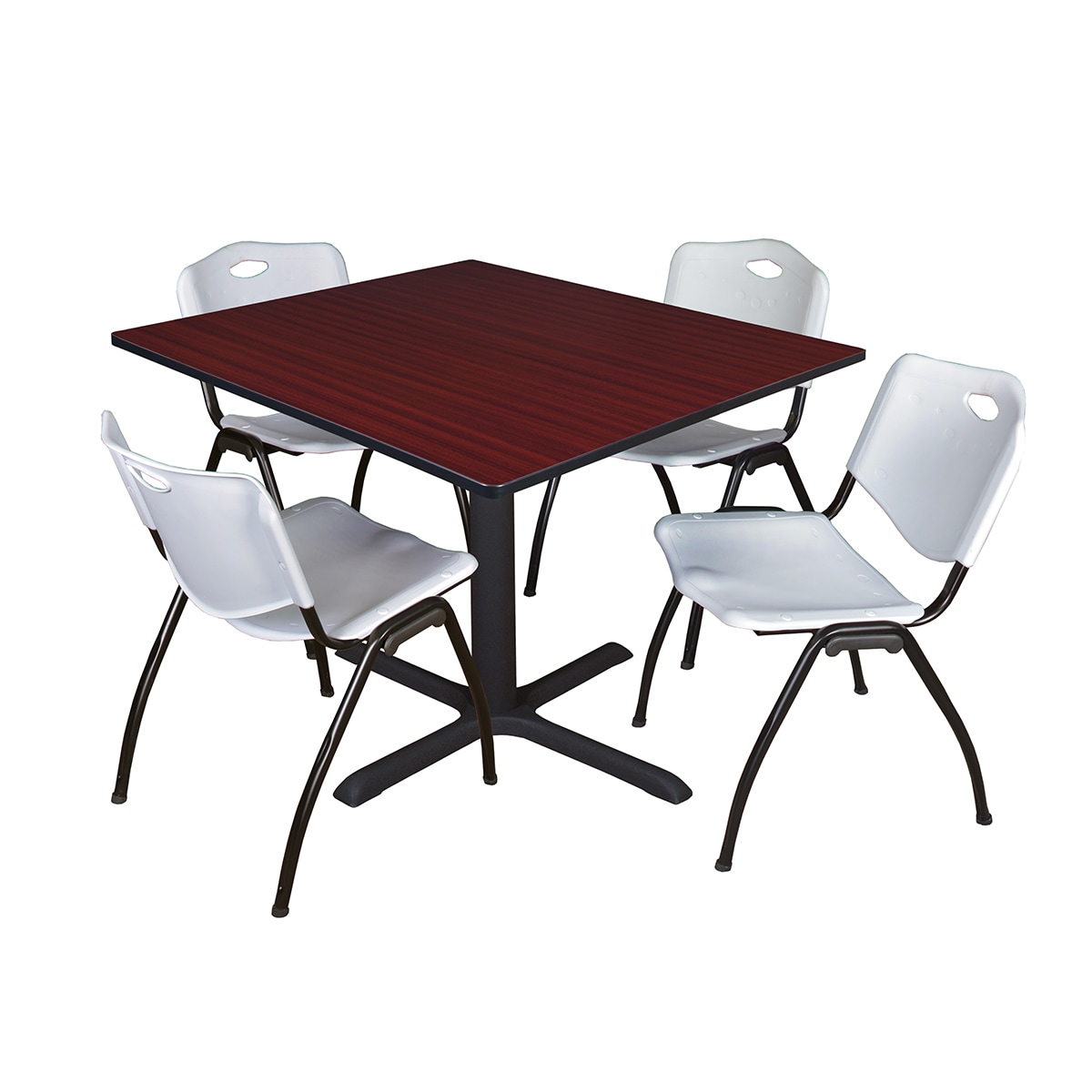 Details About Square 48 Inch Table And 4 M Stackable Grey Chairs