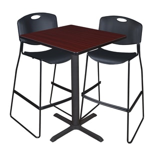 Cain 30-inch Square Café Table with 2 Black Zeng Stack Stools
