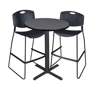 Cain 30-inch Round Café Table with 2 Black Zeng Stack Stools
