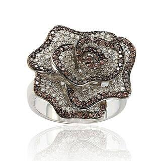 Suzy Levian Sterling Silver Brown and White Cubic Zirconia Pave Flower Ring|https://ak1.ostkcdn.com/images/products/12671367/P19457691.jpg?impolicy=medium