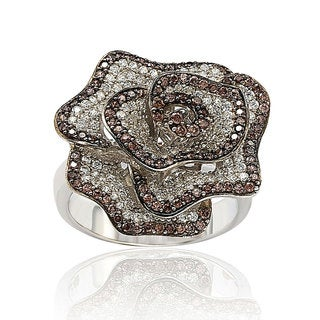 Suzy Levian Sterling Silver Brown and White Cubic Zirconia Pave Flower Ring