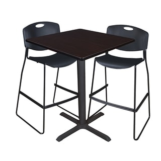 Cain 36-inch Square Cafe Table with 2 Black Zeng Stack Stools