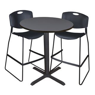 Cain 36-inch Round Café Table with 2 Black Zeng Stack Stools