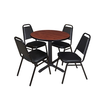Cain 30-inch Round Breakroom Table with 4 Restaurant Stack Chairs