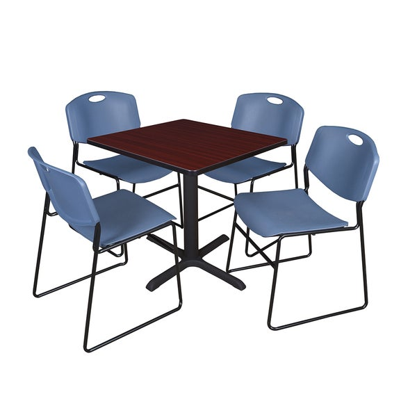 30-inch Square Table and 4 Zeng Stackable Blue Chairs