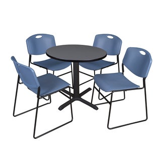 Round 30-inch Table and 4 Zeng Stackable Blue Chairs