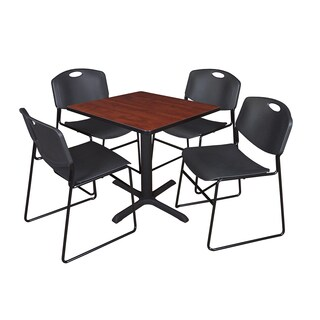 30-inch Square Table and 4 Zeng Stackable Black Chairs
