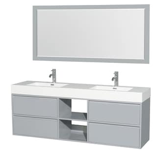 Wyndham Collection Daniella 72-inch Double Vanity, Acrylic Resin Countertop, Integrated Sinks, 70-inch Mirror