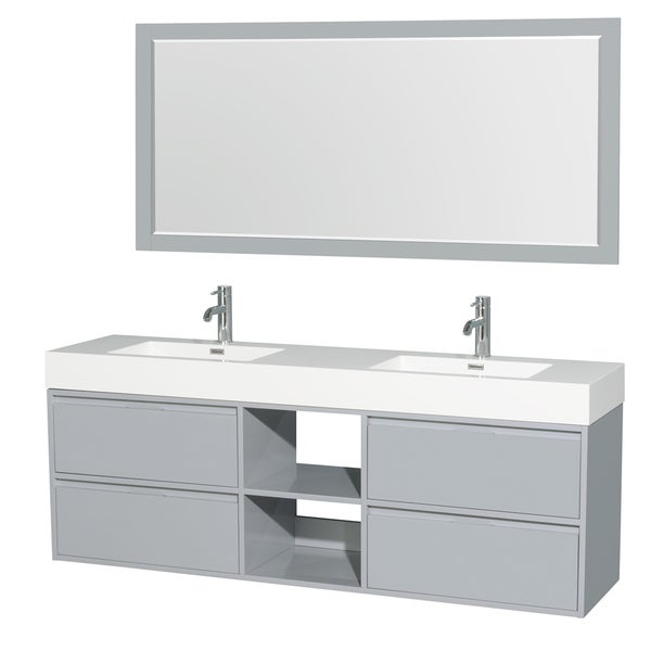 Wyndham Collection Daniella 72 Inch Double Vanity, Acrylic Resin Countertop,  Integrated Sinks,