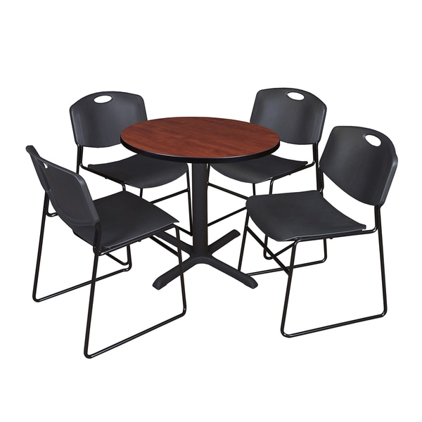 30 Inch Round Table And 4 Zeng Stackable Black Chairs