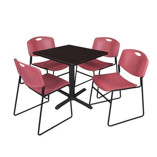 Square 30-inch Table and 4 Zeng Stackable Burgundy Chairs