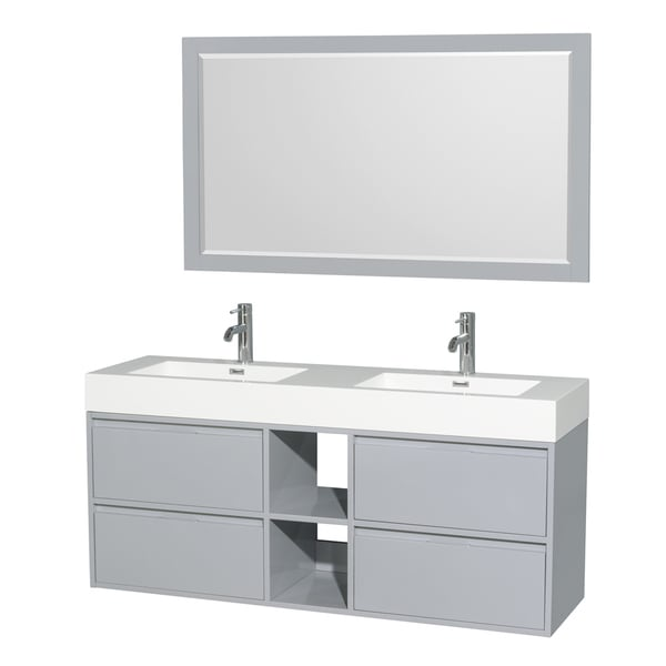 Wyndham Collection Daniella Acrylic Resin Countertop 60 Inch Integrated Sink Double Vanity With
