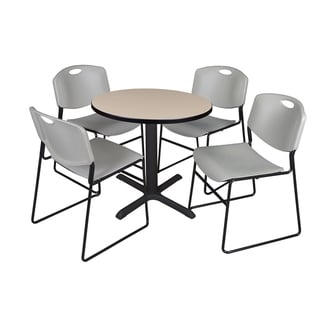 Round 30-inch Table and 4 Zeng Stackable Grey Chairs