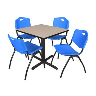 30-inch Square Table and 4 'M' Stackable Blue Chairs